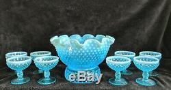 1980's Fenton AQUA BLUE HOBNAIL OPALESCENT CHAMPAGNE BOWL + 8 WINE GLASSES SET