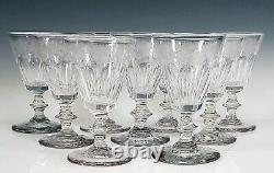 19th Century Early Glass 4 3/8 Tall Engraved Grape Vines Wine Stems Set of 9