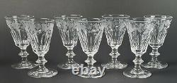 19th Century Early Glass Engraved Grapevines Wine Stems Set of 7