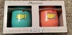 2018 MASTERS Set Of 2 12 OZ WINE GLASSES STEMLESS INSULATED Flag