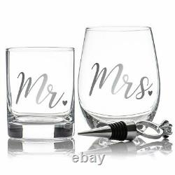 2Pcs His & Her Whisky & Wine Glass Set Stopper Drink Glasses Box Gift Set Scotch