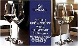 2 SETS! Red & White Wine Glasses Swarovski Crystalline By Steven Weinberg