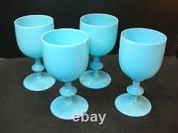 2. SET of 4 Portieux Vallerysthal PV French Blue Opaline 6.5 Glass Wine Goblets