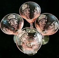 2 Sets of 4 Vintage Tiffin Pink Flanders Wine Goblets 6'