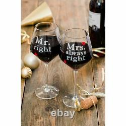 2 x MR & MRS Always Right Red Wine Glasses Contemporary Drinking Glass Set Xmas