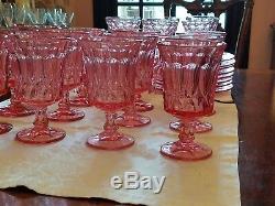 44 piece set NORITAKE PINK PERSPECTIVE Wine, water, champagne/sherbet, plates