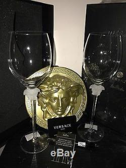 $600 VERSACE MEDUSA WINE GLASSES SET of 2 Rosenthal Red NEW WEDDING GIFT SALE