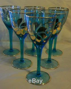 6 Piece Set, Vintage Hungarian Hand Blown Blue Crystal Wine Glasses