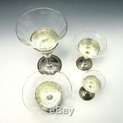 94 Pc Redlich Sterling Silver & Etched Glass Wine Cordial Sherbet Dessert Set