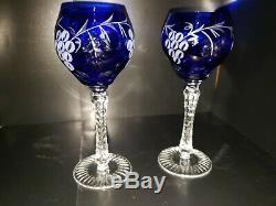 AJKA COBALT BLUE CASED CUT TO CLEAR Crystall WINE GOBLETS 8 1/2 Set of 2
