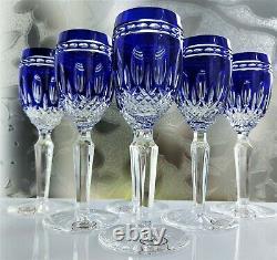AJKA CRYSTAL CLARENDON WATERFORD DESIGN Cobalt Cordials goblet set with gift box