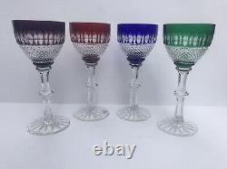 AJKA Crystal Cut To Clear Stemmed Glasses AJC15 Multicolor Set Of 4 Goblets Wine
