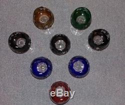 AJKA Cut to Clear Colored Crystal Hock Vtg Wine Goblet Glasses Marsala Set of 8