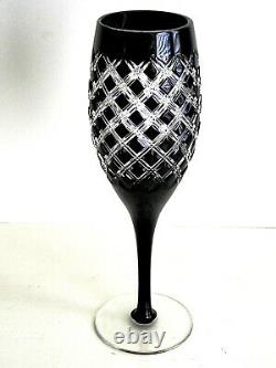 AJKA HUNGARY ATHENEE BLACK ONYX CASED CUT TO CLEAR CRYSTAL WINE GOBLETS Set of 2