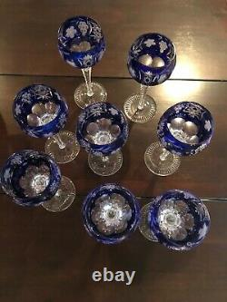AJKA HUNGARY MARSALA COBALT CASED CUT TO CLEAR CRYSTAL WINE GOBLETS 8 Set of 8