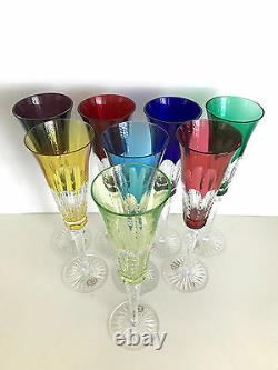 AJKA LYNN CASED CUT TO CLEAR ALL COLORS CRYSTAL WATER WINE Set of 8