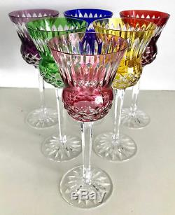 AJKA MULTI COLOR CASED CUT TO CLEAR CRYSTAL WINE GOBLETS Set of 6