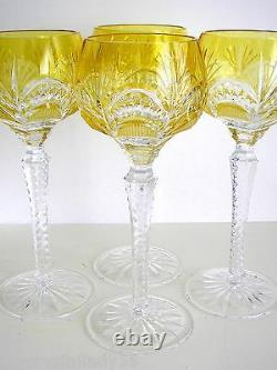 AJKA PEEP CLEANTHE YELLOW GOLD CASED CUT TO CLEAR CRYSTAL WINE GOBLETS Set of 4