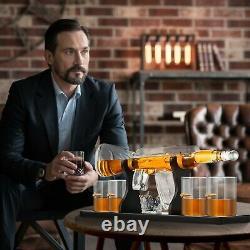 AK47 Gun Decanter Pistol Shape Wine Bottle Drinks Set Four Shots Glasses And One