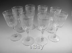 ANTIQUE WINE Glass / Glasses Set of 8 Fruiting Vine Pattern (B) Powell