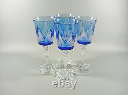 Ajka Azure Blue Cut To Clear Crystal Water / Wine Bock Glass Set Of 4