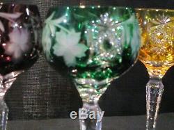 Ajka Bohemian Crystal 7 Piece Wine Hock Set w Decanter Marsala Cut to Clear
