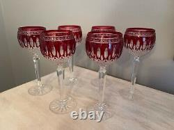 Ajka Crystal Clarendon Waterford Design Hock Wine Goblets Red Set Of 6