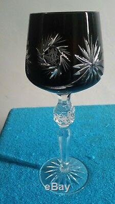 Ajka Crystal Wine Glasses Bohemian Cut Glass Set of 6. 24% PbO