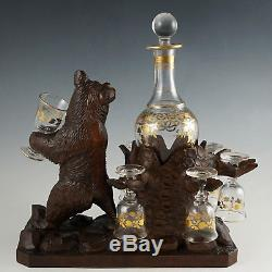 Antique Black Forest Carved Wood Bear Liquor Tantalus Glass Wine Decanter Set