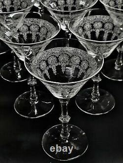 Antique Bryce Etched Flowers Set of 10 Glass 6 1/2 Tall Wine Stems