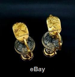 Antique Church Altar Gilt Brass Art Nouveau Glass Cruet Communion Wine Set