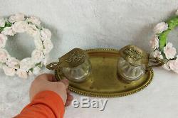 Antique Church altar Glass Cruet Communion Wine set art nouveau