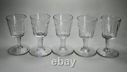 Antique Early 19th Century Georgian Set Five Glass Rummer Rummers Wine Glasses