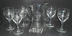 Antique Etched Flower Pattern Pitcher & Stem Wine / Water Glasses Set