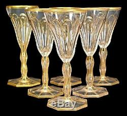 Antique French Crystal Gold Monogrammed S Set of 6 Wine Glasses