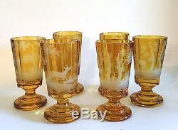 Antique Moser Set Of Six Wine Goblets Hand Carved Beautiful Amber Color