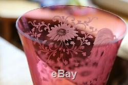 Antique Set 4 Intaglio Cameo Engraved Cranberry Glass Crystal Wine Goblets