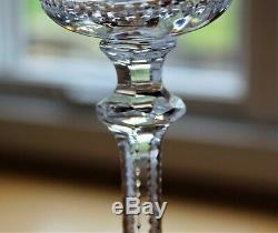 Antique Set 6 Steven Williams Intaglio Engraved Crystal WATER WINE GOBLETS