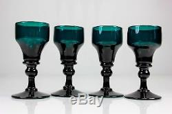 Antique Set Of Four Bristol Green Wine Glasses