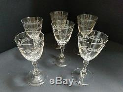 Antique Set of Six Engraved Wine Glasses c. 1835