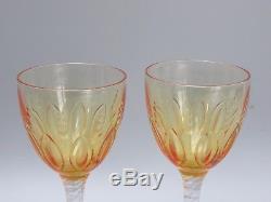Antique Stuart Crystal Amber Wine Hock Glasses Set Of 2 -signed- 8 Tall 7 Oz