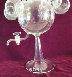 Antique Vtg Italian Blown Glass Wine Dispenser, Punch, Tea Set, Bimini Salviati