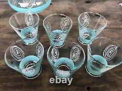 Antique Water Decanter & Glass Set Art Deco Style Blue & White Tumblers Wine