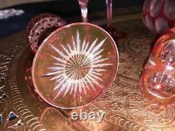 Antique wine glass decanter set Stevens + Williams era 8 point glory star base