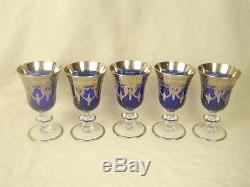 Arte Italica Crystal MEDICI Cobalt Platinum Swags Set of 5 Wine Goblets