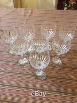 BACCARAT Crystal MASSENA Goblets Claret Wine Glasses Set Of 8- 6 3/8