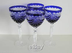 BOHEMIAN COBALT CASED CUT TO CLEAR CRYSTAL WINE GOBLETS Set of 4