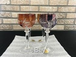 BOHEMIAN MULTI COLOR Wine Goblet Hock CUT TO CLEAR CRYSTAL Hutte GERMANY SET 4