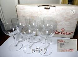 Baccarat Crystal BRUMMEL Claret Wine Glasses, Set of 6, MINT With BOX