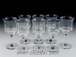 Baccarat France Crystal CAPRI OPTIC 6 CLARET WINE GOBLETS GLASSES Set of 8 Mint